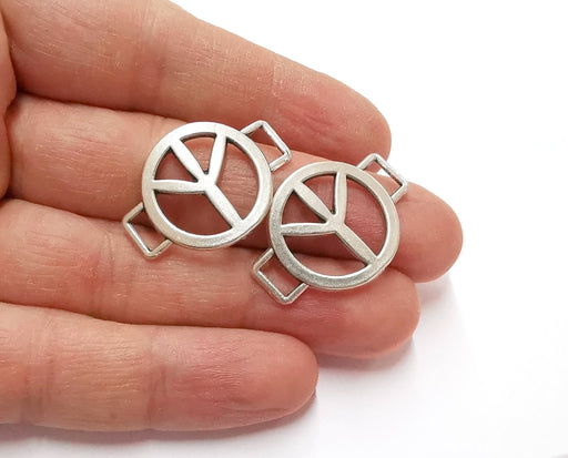 2 Peace Connector Charms Antique Silver Plated Charms  (31x22 mm)  G21227