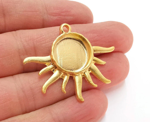 Sun Charms Blank Bezel Resin Bezel Mosaic Mountings Gold Plated Charms (42x35mm) (16 mm Bezel Inner Size)  G21319