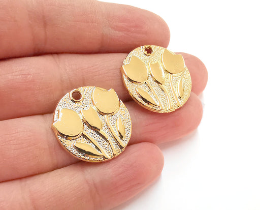 2 Flowers Charms Shiny Gold Plated Charms (24mm)  G21320
