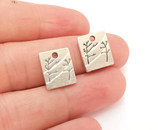 10 Trees Charms (Double Sided) Antique Silver Plated Charms (15x13mm)  G21537