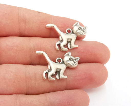 5 Cat Charms Antique Silver Plated Charms (29x20mm)  G21540