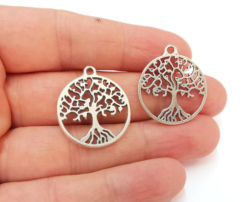 5 Tree Charms Antique Silver Plated Charms (28x25mm)  G21541