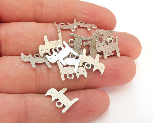 10 Cats Charms Antique Silver Plated Charms (13x11mm)  G21542