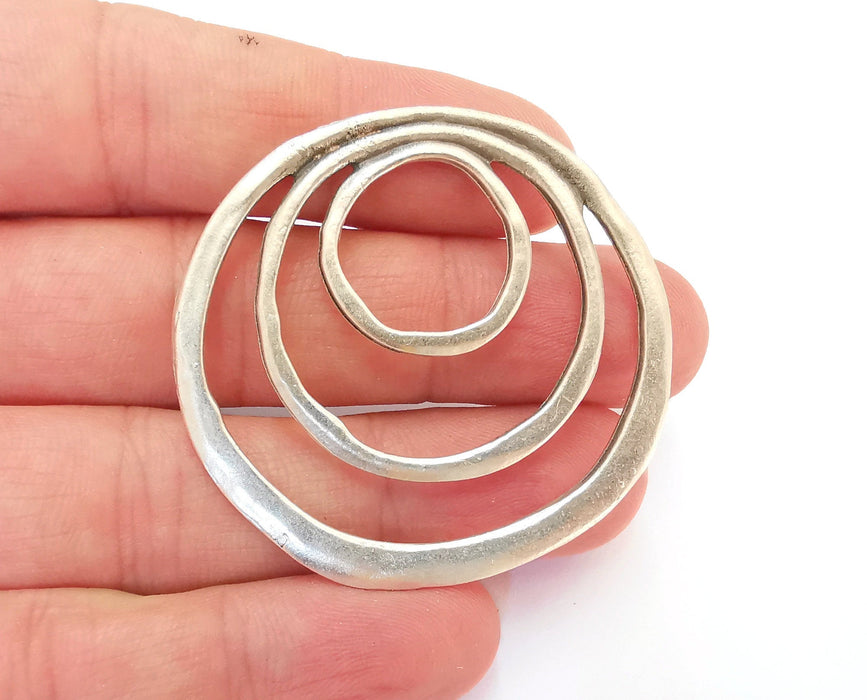 2 Circle Charms Antique Silver Plated Charms (50x48mm)  G21558