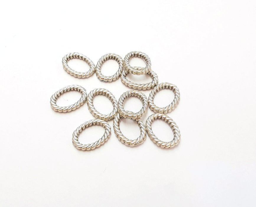 10 Twisted Oval  Findings Antique Silver Plated Findings (15x11 mm)  G21574