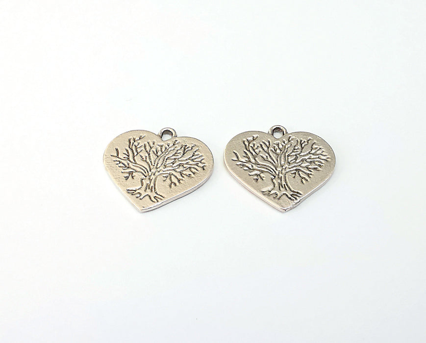 4 Heart Tree Charms Antique Silver Plated Charm (23x22mm) G21663