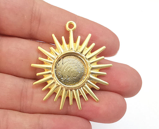 Sun Charms Blank Bezel Resin Bezel Mosaic Mountings Gold Plated Charms (46x41mm)( 16 mm Bezel Inner Size)  G21666