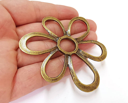 Flower Charms Antique Bronze Plated Charms (75mm)  G21679