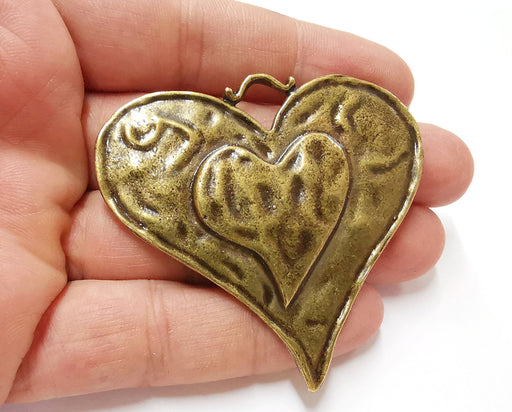 Heart Pendant Antique Bronze Plated Pendant (63x61mm)  G21686