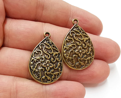 2 Flower Drop Charms Antique Bronze Plated Charms (33x22mm)  G21693
