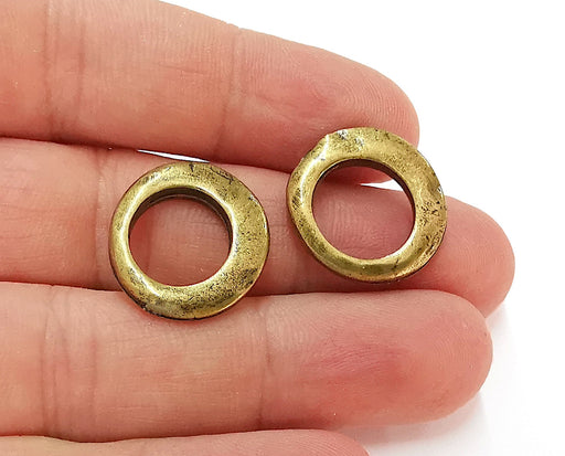 4 Circle Charms Antique Bronze Plated Findings (22x20mm) G21696