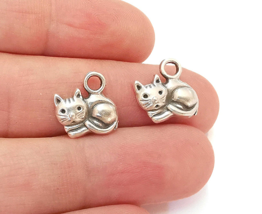 10 Cat Charms Antique Silver Plated Charms (14x14mm)  G21545
