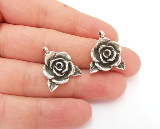 4 Rose Charms Antique Silver Plated Charms (22x19mm)  G21555