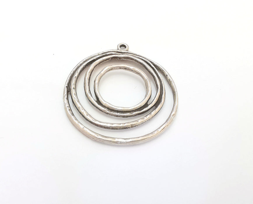 2 Circle Charms Antique Silver Plated Charms (40x37mm)  G21557