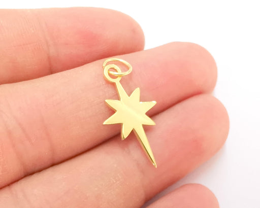 Sterling Silver 24K Gold Plated Star Charms 925 Silver Pendant  (25x15mm) AG21778