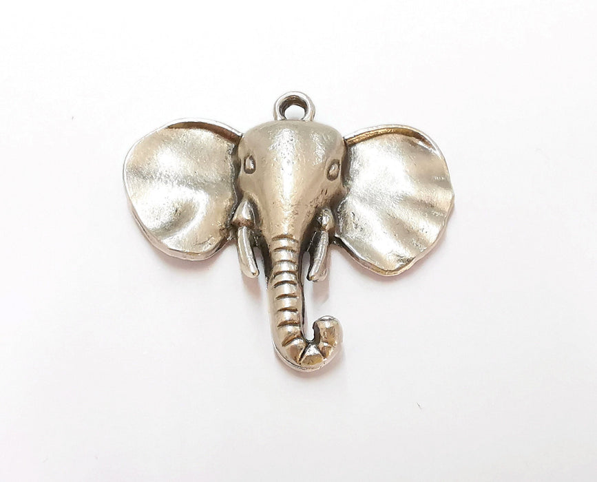 2 Elephant Charms Antique Silver Plated Charms (44x41mm)  G21556