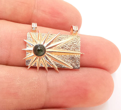 Sterling Silver Sun Pendant with Tourmaline Gemstone Rose Gold Pendant 925 Silver Pendant, Charms (25x20mm) AG21831