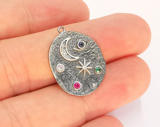 Sterling Silver Moon and Star Pendant 925 Oxidized Silver Pendant with Cubic Zirconia stone , Charms (25x19mm) AG21851