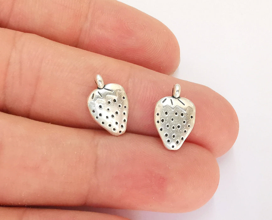 10 Strawberry Charms Double Sided Antique Silver Plated Charms (14x9mm)  G21860