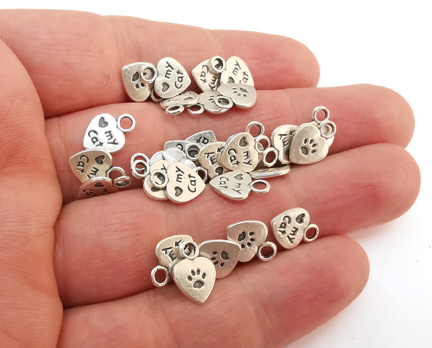 20 Heart My Cat Double Sided (both sides are different) Charms Antique Silver Plated Charms (12x8mm) G21579