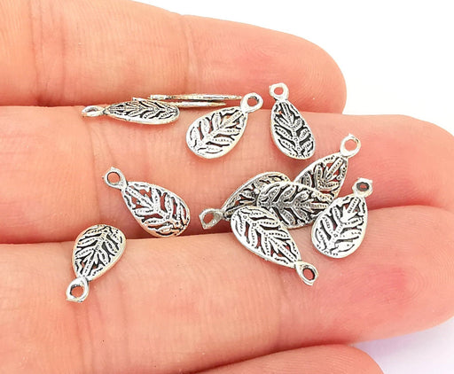 5 Sterling Silver Teardrop Leaf Charms 925 Silver Charms (13x6mm) OG21892