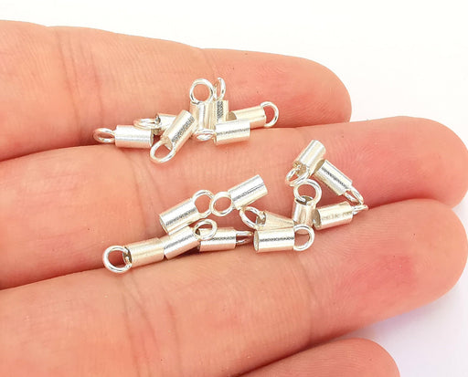 10 Sterling Silver Cord End Findings (8x3mm) 925 Silver Findings 10 Pcs  OG21916