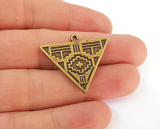 2 Triangle Charms Antique Bronze Plated Charms (33x28mm)  G21598