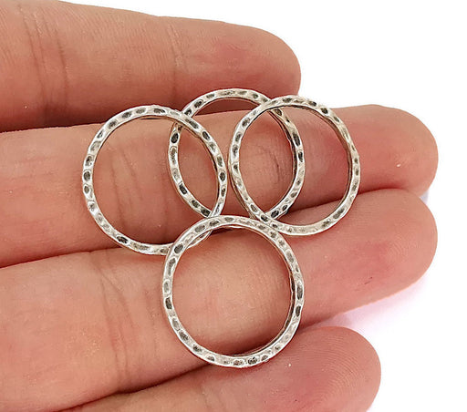 10 Hammered Circle Antique Silver Plated Findings (21mm) G21967