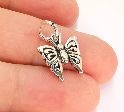Sterling Silver Butterfly Charms 925 Antique Silver Charms (25x18mm) EG22015