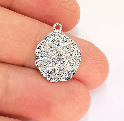 Sterling Silver Flower Charms 925 Silver Pendant with Cubic Zirconia stone , Charms (20x15mm) AG22005