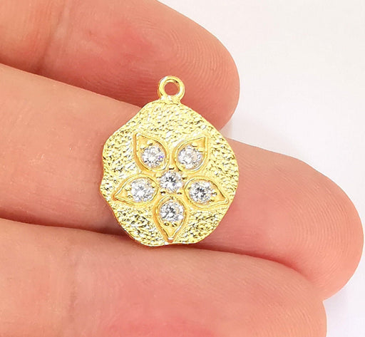 24K Gold Sterling Silver Flower Charms 925 Silver Charms (20x15mm) AG22010