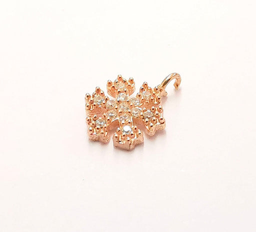 2 Sterling Silver Snowflake Charms 925 Rose Gold Plated Silver Charms  (12x8mm) AG22011