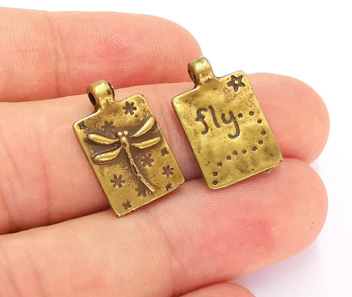 5 Dragonfly Charms Antique Bronze Plated Charms (Double sided) (20x13mm)  G22014