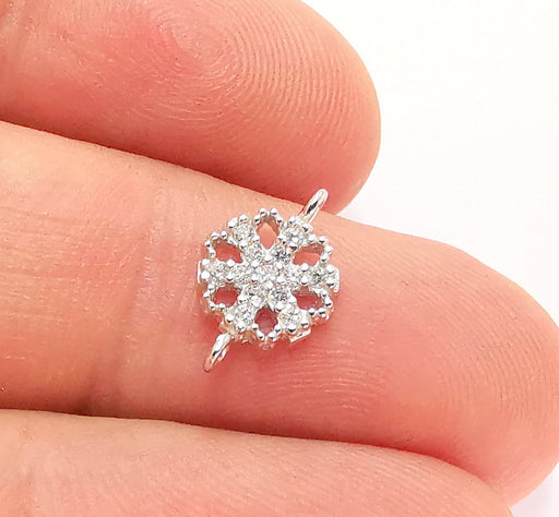 2 Sterling Silver Snowflake Connector Charms 925 Silver Charms with Cubic Zirconia stone (13x8mm) AG22018