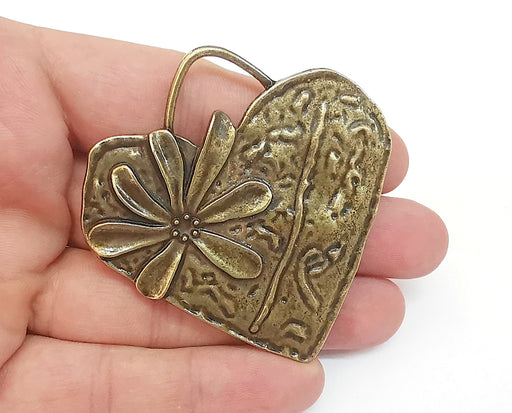 Heart Flower Pendant Antique Bronze Plated Pendant (66x65mm)  G21665
