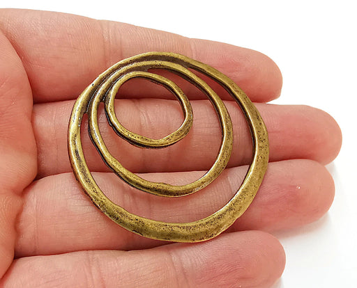 2 Circle Charms Antique Bronze Plated Charms (50x48mm)  G21682