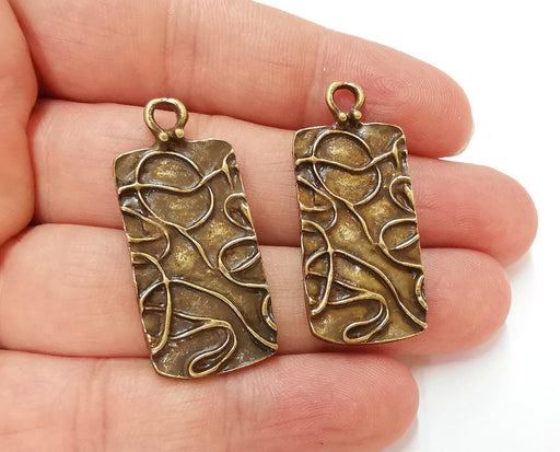 2 Antique Bronze Charms Antique Bronze Plated Charms (40x18mm) G21684
