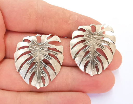 2 Monstera Leaf Charms Antique Silver Plated Charms (33x32mm) G22246