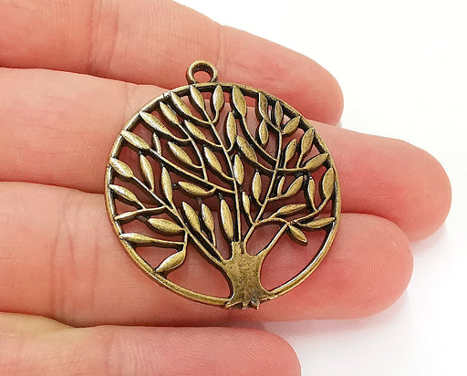 2 Tree Charm Antique Bronze Charm Antique Bronze Plated Charms (42x36mm) G21695