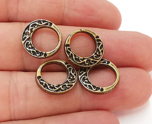5 Antique Bronze Double Side (Both Side Same) Charms Antique Bronze Plated Charms (16mm)  G21701