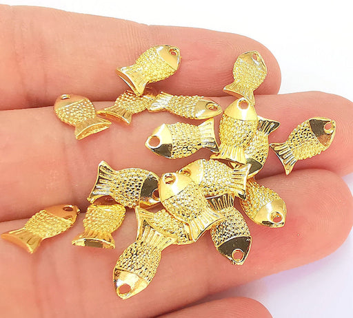 10 Shiny Gold Fish (Double Sided) Charms 24k Shiny Gold Charms (12x7mm)  G22296