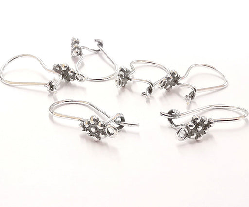 4 Sterling Silver Earring Hook 4 Pcs (2 pairs) 925 Antique Silver Earring Wire Findings Oxidized Silver Earring Hook (20mm) ZNG21739