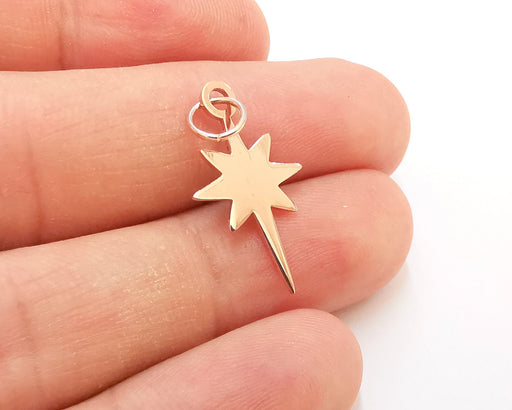 Sterling Silver Star Charms 925 Rose Gold Plated Silver Pendant  (25x15mm) AG21780