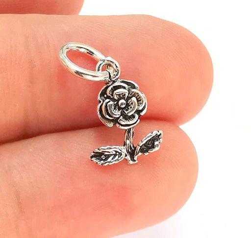 2 Sterling Silver Rose Charms 925 Silver Charms (18x10mm) EG21961