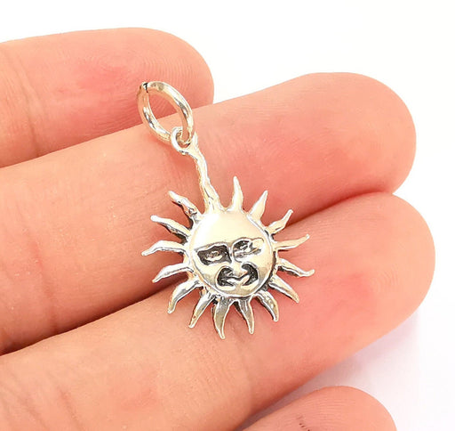 Sterling Silver Sun Charms 925 Antique Silver Charms (27x18mm) EG21994