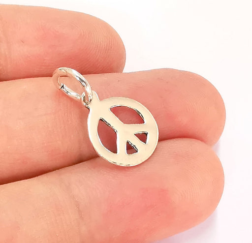 Sterling Silver Peace Charms 925 Silver Charms (22x13mm) EG22000