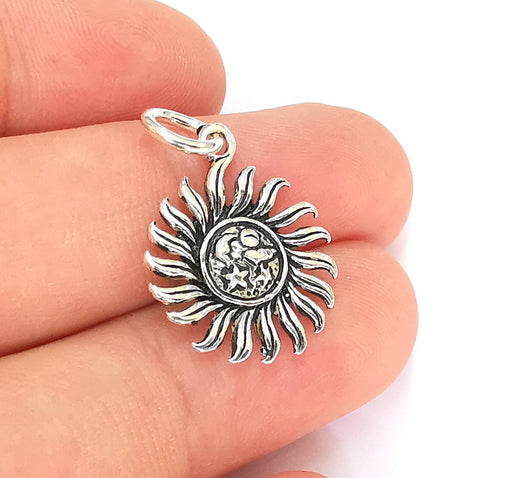 Sterling Silver Sun Charms 925 Antique Silver Charms (28x18mm) EG22002