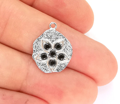 Sterling Silver Flower Charms 925 Silver Charms , Charms (20x15mm) AG22009