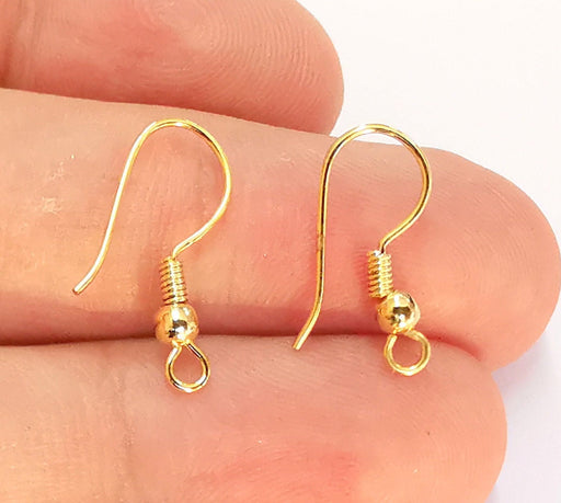 10 Gold Earring Hook 24k Shiny Gold Plated Brass Earring Hook Findings , 10 Pcs (5 pairs) Nickel free and lead free  G22044