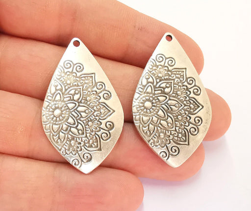 2 Flower Charms Antique Silver Plated Charms (43x25mm) G22265
